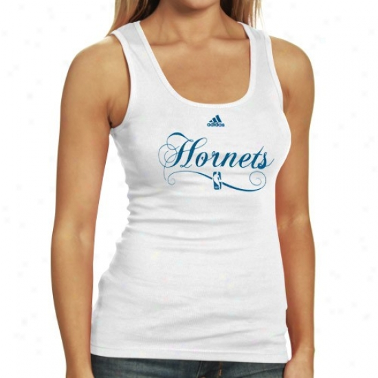 New Orleans Hornet T Shirt : Adidas New Orleans Hornet Ladies White Clean Sweep Tank Top
