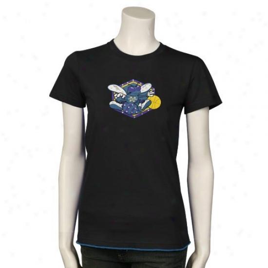 New Orleans Hornet T Shirt : Majestic Threads Neew Orleans Hornet Ladies Blafk Swarovski Crystal Contrast Hem Basic T Shirt