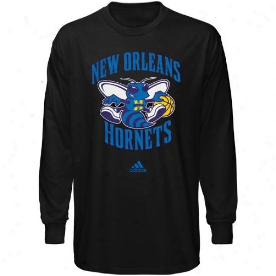New Orleans Hornet Tee : Adidas New Orleans Hornet Youth Black Full Primary Logo Long Sleeve Tee