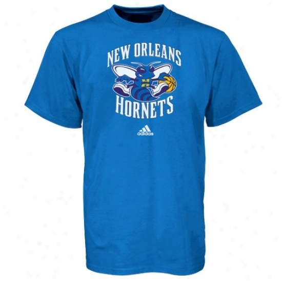 New Orleans Hornet Tees : Adidas New Orleans Hornet Creole Blue Primary Logo Tees