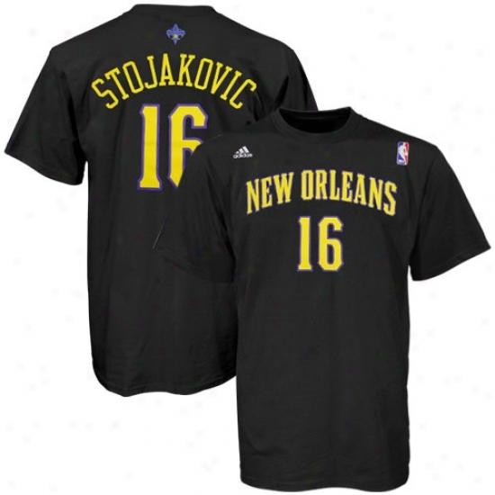 New Orleans Hornet Tees : Adidas New Orleans Horemt #16 Peja Stojakovic Black Player Tees