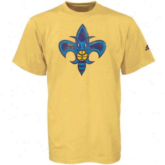 New Orleans Hornet Tshirts : Sport Authentics By Adidas New Orlwans Hornet Gold Better Logo Tshirts