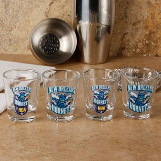 New Orleans Hornets 4-pack Enhanced High Definition Design Shot Glass Set