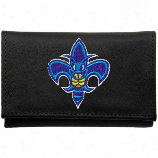 New Orleans Hornets Black Leather Embroidered Tri-fold Wallet
