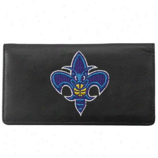 New Orleans Hornets Black Leather Embroidered Checkbook Cover