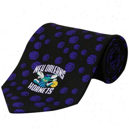 New Orleans Hornets Black Logo Silk Neck Tie