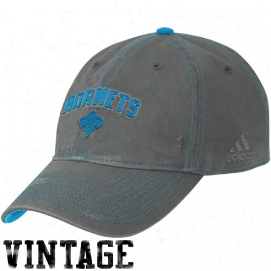 New Orleans Hornets Cap : Adidas New Orleans Hornets Charcoal Slouch Adjustable Vintage Cap