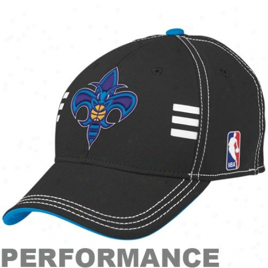 New Orleans Hornets Gear: Adidas New Orleans Hornets Black Official Dratf Day Acting Stretch Fit Hat