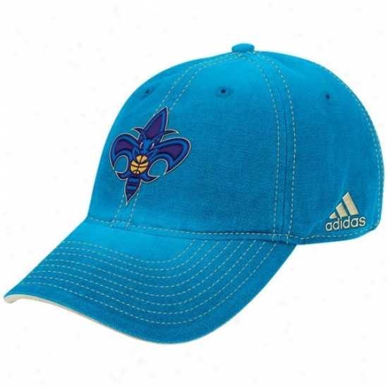 New Orleans Hornets Hat : Adidas New Orleans Hornets Creole Blue Slocuh Adjustable Hat