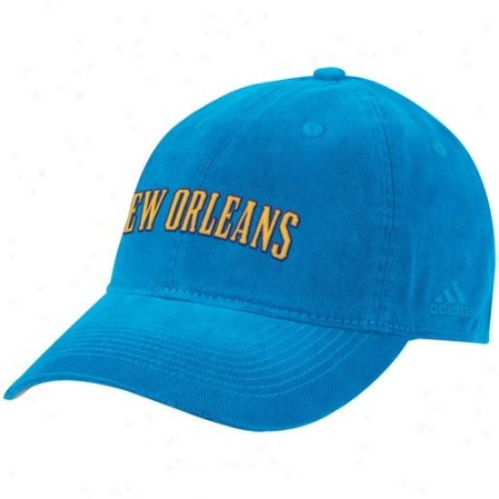 New Orleans Hornets Hats : Adidas New Orleans Hornets Creole Blue Script Slouch Hats