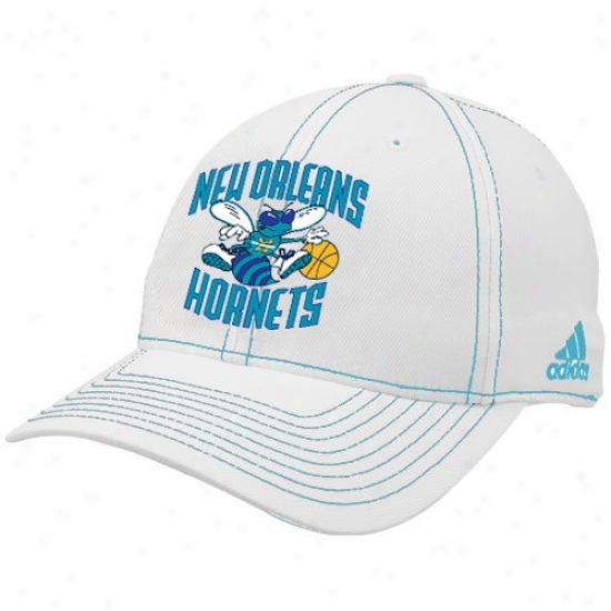 New Orleans Hornets Hats : Adidas New Orleans Hornets White Team Logo Structured Flex Fit Hats