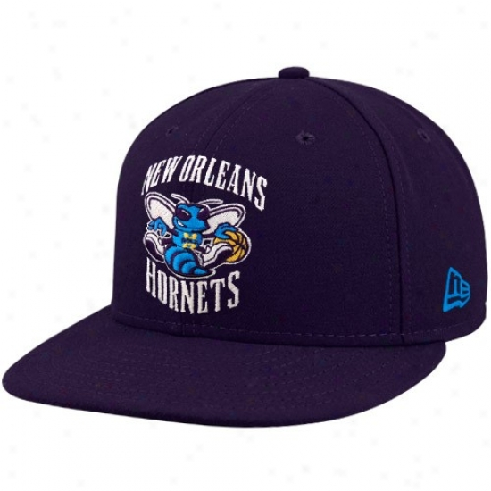 New Orleaans Hornets Hats : New Era New Orleans Hornets Purple 59fifty Chief Logo Flat Brim Fit5ed Hats