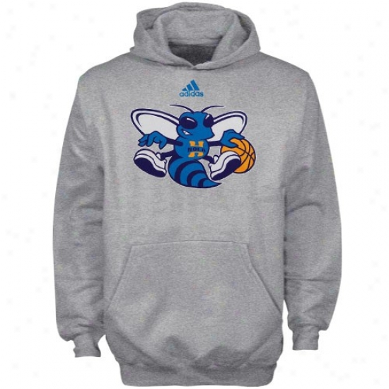 Neww Orleans Hornets Hoodies : Adidas New Orleans Hornets Ash Youth Primary Logo Hoodies
