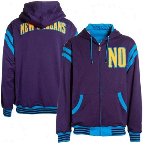 New Orleans Hornets Hoodies : New Orleans Hornets Purple-teal Thompson Full Zip Reversible Hoodies