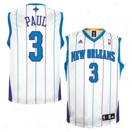 New Orleans Hornets Jersey : Adidas New Orleans Hornets #3 Chris Paul White Striped Replica Basketball Jersey
