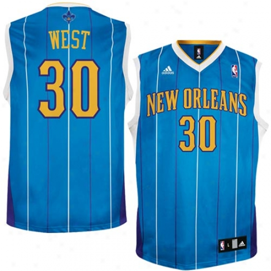 New Orleans Hornets Jerseys : Adidas New Orleans Hornets #30 David West Aqua Autograph copy Basketball Jerseys