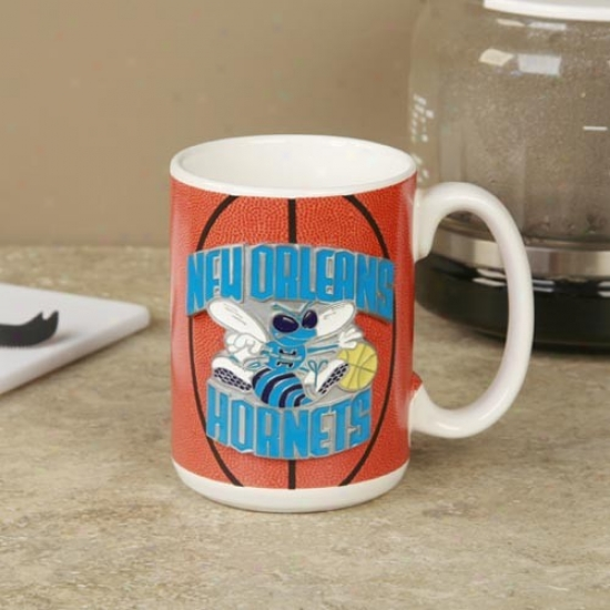 New Orleans Hornets Pewter Logo Basketball Coffee Mug