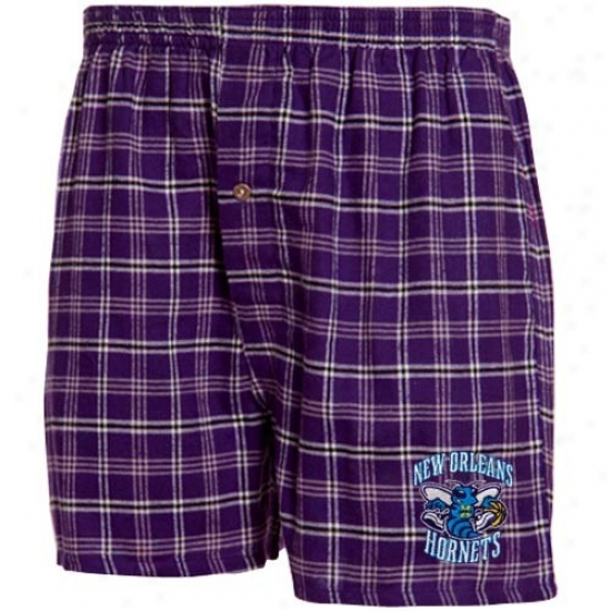 New Orleans Hornets Purple Plaid Tailgate Boxer Shorts