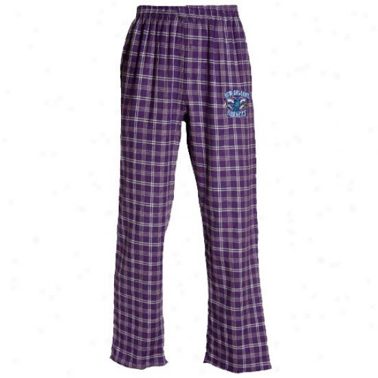New Orleans Hornets Purple Plaid Tailgate Pjaama Pants