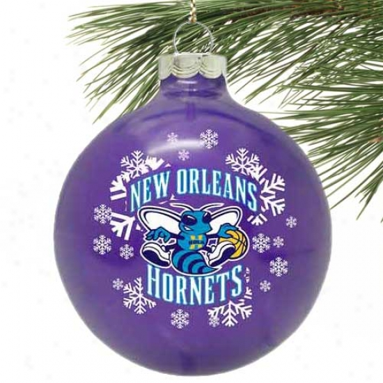 New Orleans Hornets Purple Snowflake Glass Ormament