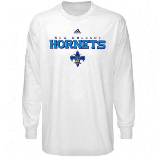 New Orleans Hornets Shjrt : Adidas New Orleans Hornets White True Court Long Sleeve Shirt