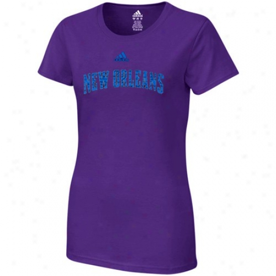 New Orleans Hornets Shirts : Adidas New Orleans Hornets Ladies Purple Inner Thlughts Silky Smooth Shirts