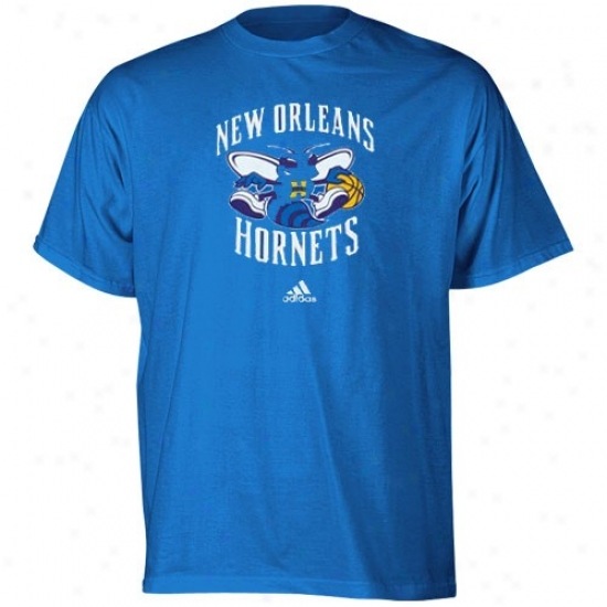 New Orleans Hornets Shirts : Adida New Orleans Hornets Youth Creole Blue Primary Logo Shirts