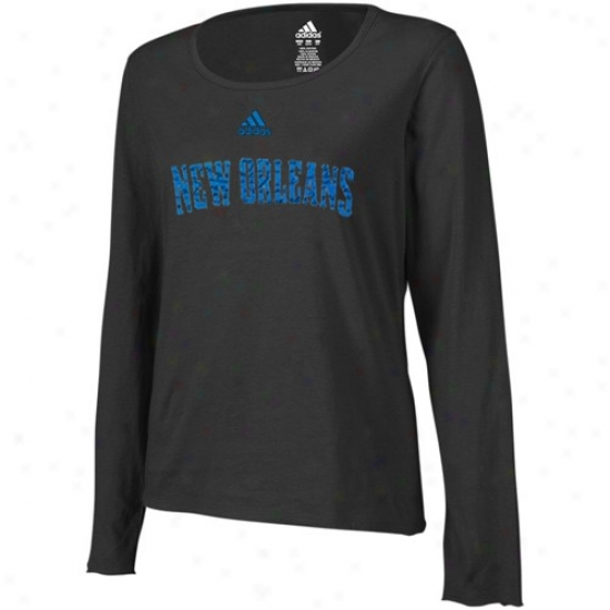 New Orleans Hornets Tshirt : Adidas New Orleans Hornets Ladies Black Inner Thoughts Silky Smooth Long Sleeve Tshirt