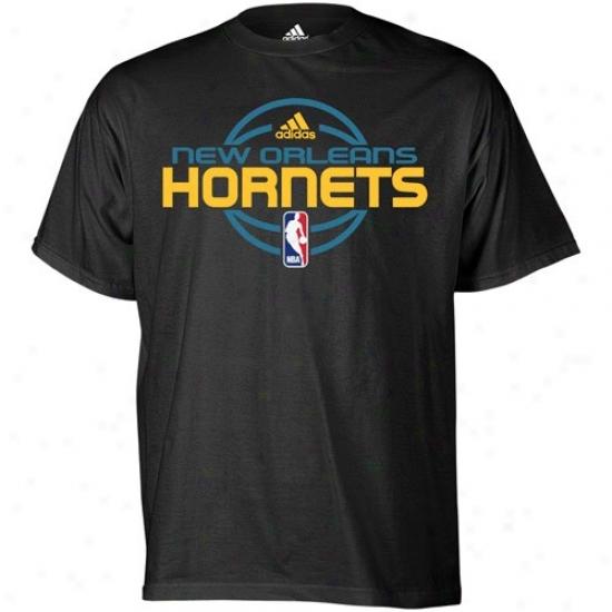 New Orleans Hornets Tshirt : Adidas New Orleans Hornets Black Team Issue Tshirt