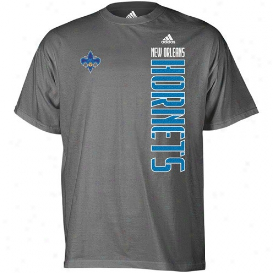 New Orleans Hornets Tshirts : Adidas New Orleans Hornets Dark Gray Soundwave Tshirts