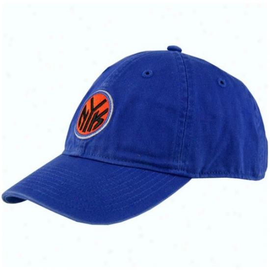 New York Knick Hat : Adidws New York Knick Royal Blue Basic Logo Slouch Hat