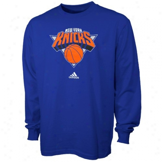 New York Knick Tees : Adidas NewY ork Knick Youth Royal Blue Full Primary Logo Long Sleeve Tees