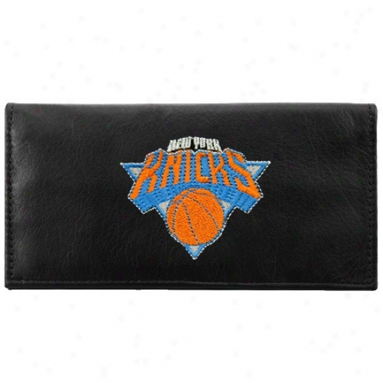 New York Knicks Black Leather Embroidered Checkbook Cover