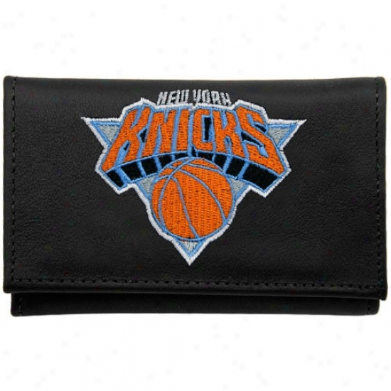 New York Knicks Black Lezther Embroidered Tri-fold Wallet