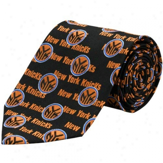 New York Knicks Dismal Logo Print Silk Neck Tie