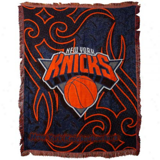 New York Knicks Navy Blue 48'' X 60'' Tattoo Jacquarr Woven Blanket Throw