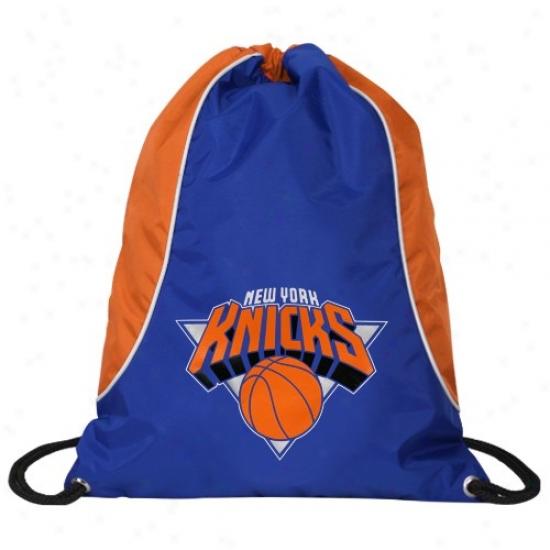 New York Knicks Royal Blue-orange Axis Drawstring Backpack