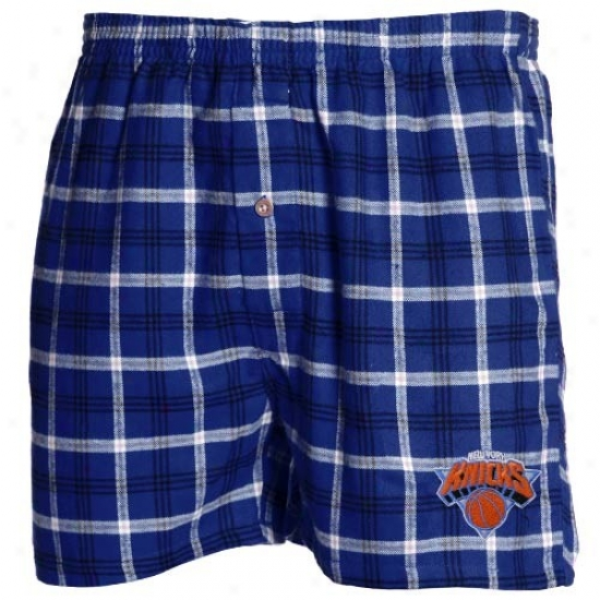 New York Knicks Royal Blue Plaid Tailgate Boxer Shorts