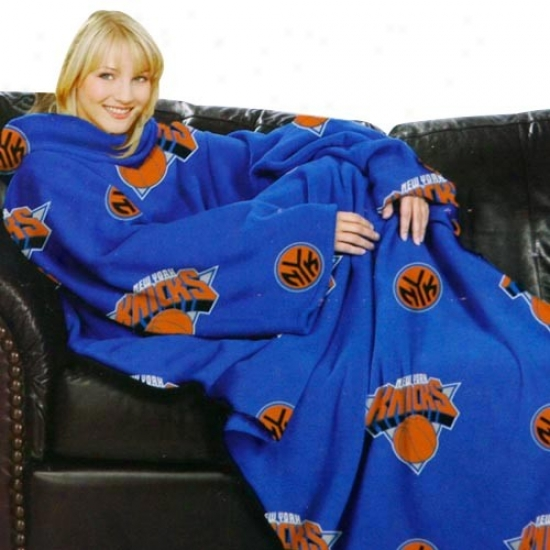 New York Knicks Royal Blue Team Logo Prin5 Unisex Comfy Throw