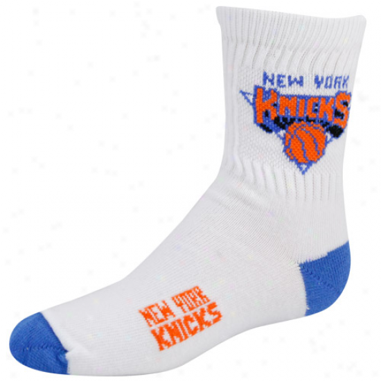 New York Knicks Youth White Team Logo Crew Socks