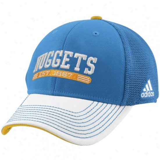 Nuggets Caps : Adidas Nuggets Light Blue-white Established Mesh Flex Fit Caps