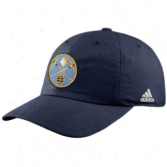 Nuggets Gear: Adidas Nuggets Navy Blue Logo Slouch Fit Adjustable Hat