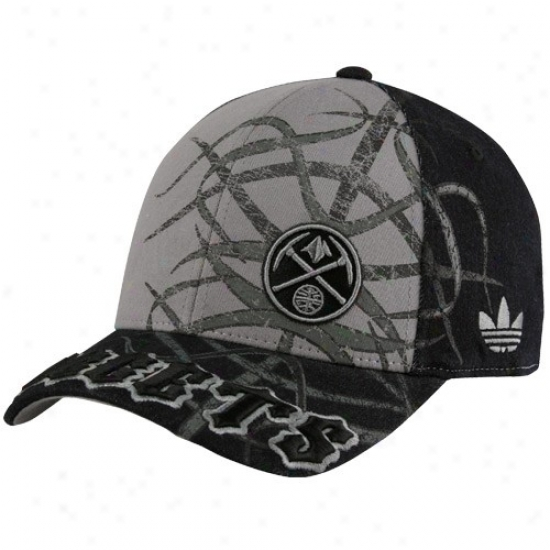 Nuggets Hat : Adidas Nuggets Black-gray Tatted Structured Flex Fit Hat