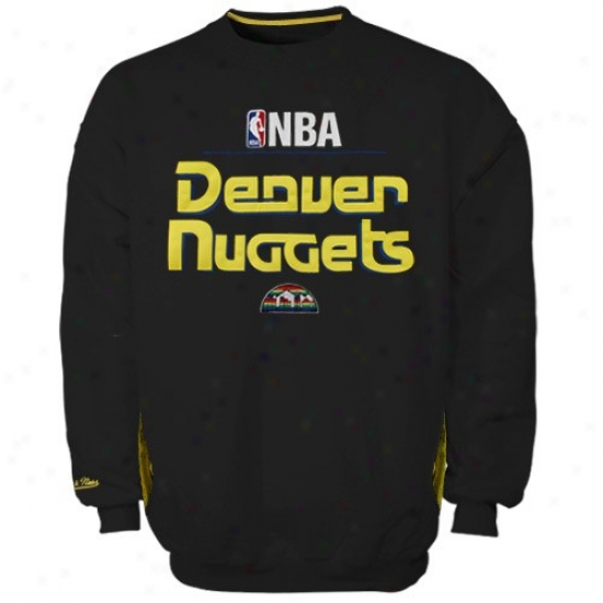 Nuggets Hoody : Mitchell & Ness Nuggets Black Media Guide Crew Hoody