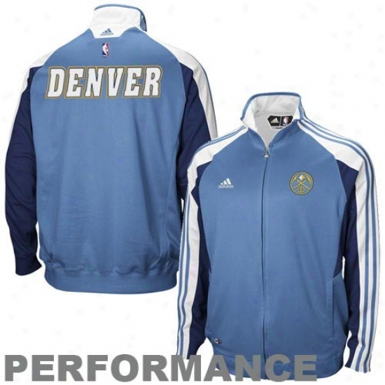 Nuggets Jacket : Adidas Nuggets Ladies Light Blue On Court Full Zip Performance Jacket