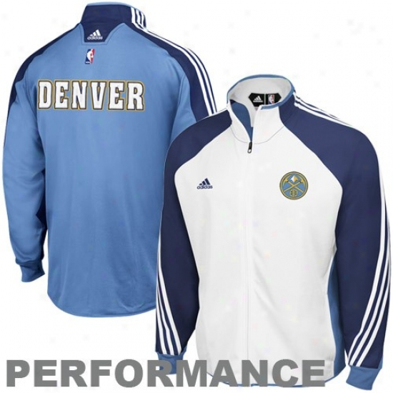 Nuggets Jackets : Adidas Nuggets White-light Blue On Courr Performance Warm-up Jackets