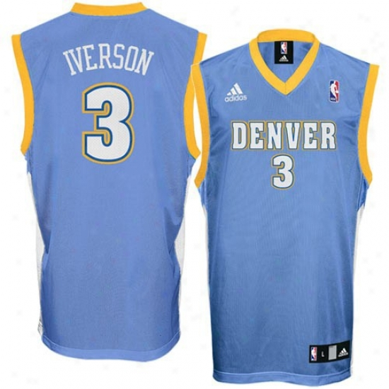 Nuggets Jersey : Adidas Nuggets #3 Allen Iverson Light Blue Youth Replica Jersey