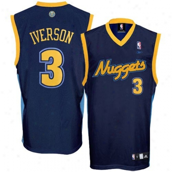 Nuggets Jersey : Adidas Nuggets #3 Allen Iverson Youth Navy Blue Alternate Color Basketball Jersey