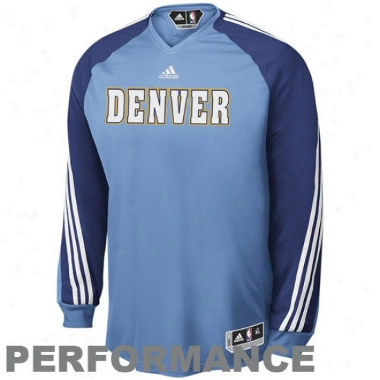 Nuggets T Shirt : Adidas Nuggets Light Blue On Court Shooting Performance Long Sleeve Chief