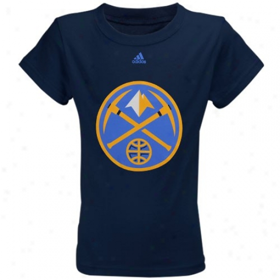 Nuggets T Shirt : Adidas Nuggets Youth Girls Navy Blue Team Logo T Shirt